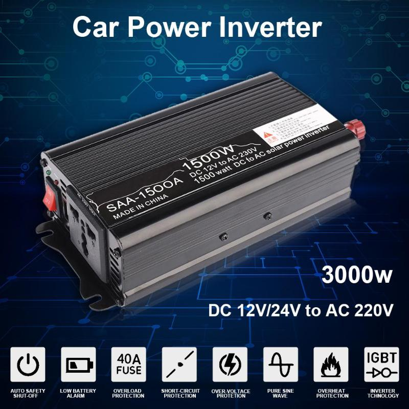 1500W Peak Car Power Inverter DC 12V/24V to AC 220V Charger Converter Black Cigarette Lighter Plug Power Converter Inverter New new acehe 1500w car dc 12v to ac 220v overload protection reverse polarity protection power inverter charger converter