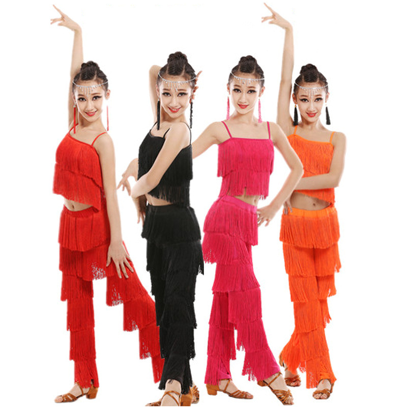 Latin Dance Dress For Kids Girls Adult Ballroom Tassel Fringe Tops Pants Salsa Samba Costume Children Dance Competition Costume