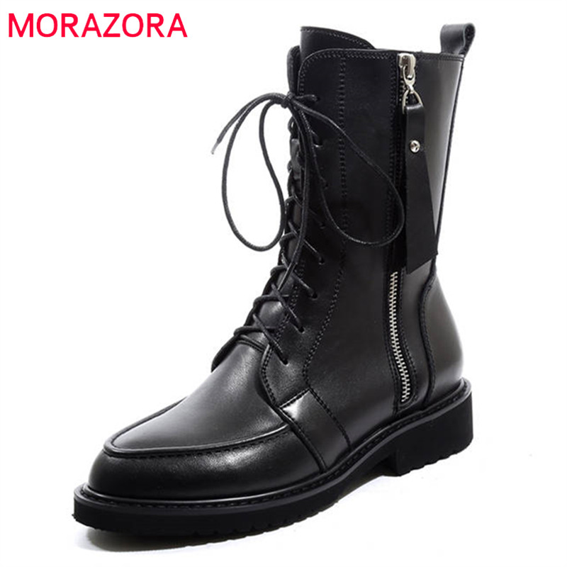 MORAZORA 2020 new arrival genuine leather ankle boots for women lace up +zipper autumn boots fashion punk shoes woman black