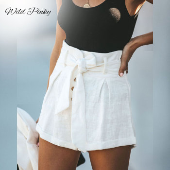WildPinky High Stylish White Summer Cotton Linen Shorts Women Button Belt Tie Female Shorts High Waist Ruffle Casual Shorts ladies high waist linen shorts 2020 summer red floral print bow tie scallop elegant hot shorts