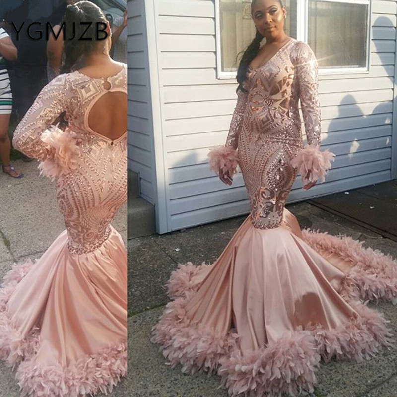 Sparkly Sequin African Mermaid   Evening     Dresses   2019 V-Neck Long Sleeve Feathers Train Black Girl Formal Prom Gown Party   Dress