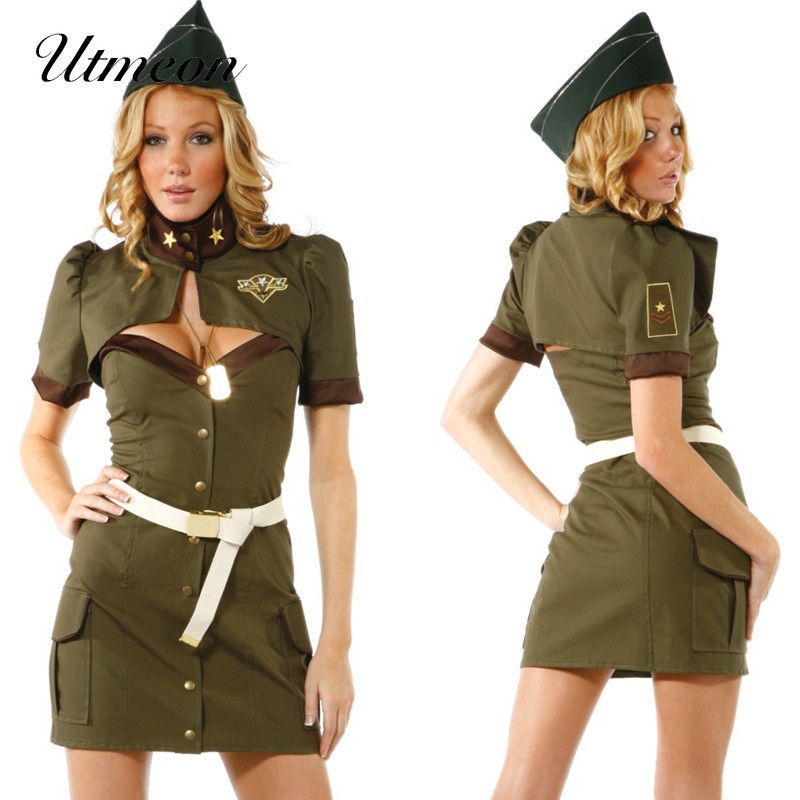 UTMEON <font><b>Sexy</b></font> Army Green Over bust Pattern Cosplay Soldier <font><b>Dress</b></font> Adult Cosplay Military <font><b>Sexy</b></font> <font><b>Halloween</b></font> Costume For <font><b>Women</b></font> image