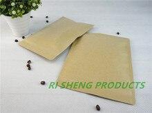 100pcs 16X24cm Brown Kraft paper ziplock bags inner aluminium foil,Resealable Craft paper aluminized pouch Zipper clip seal sack