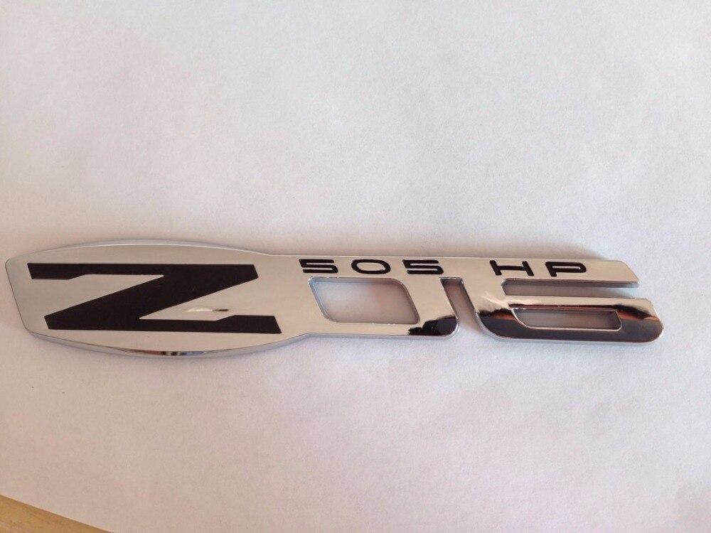 Chrome & black 2006-2013 C6 Z06 505 HP Fender Emblem-2pcs