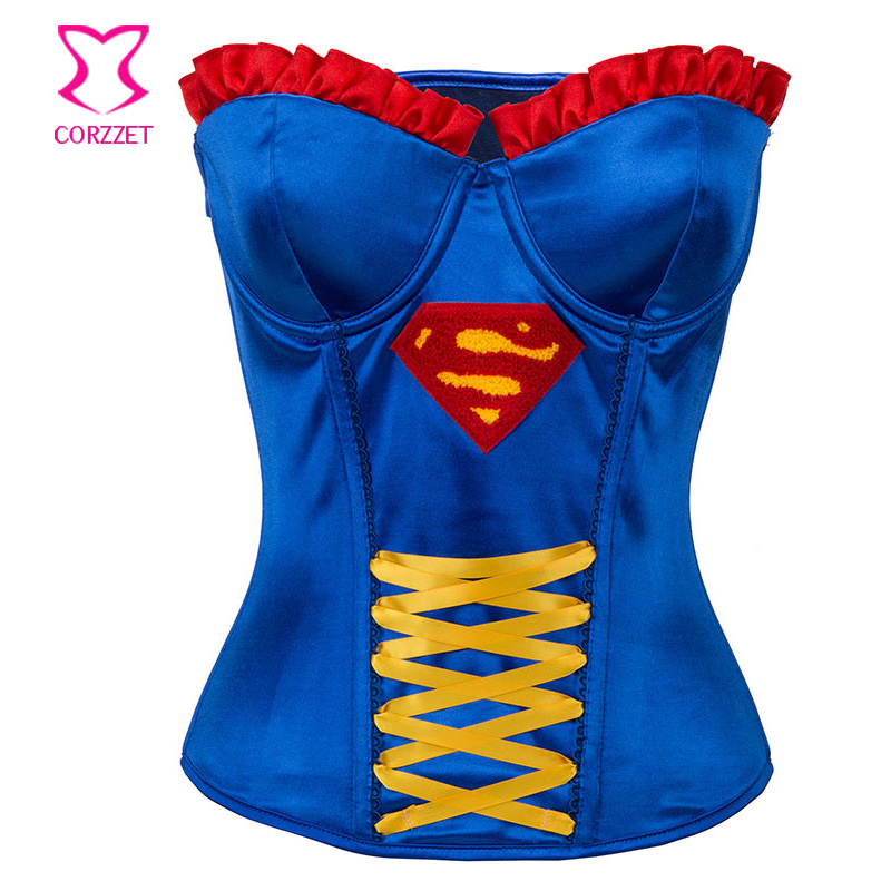 Blue Bra Push Up Korsett For Women   Corsets   And   Bustiers   Steampunk Gothic   Corset   Top Burlesque   Bustier   Sexy Corpetes E Corselet