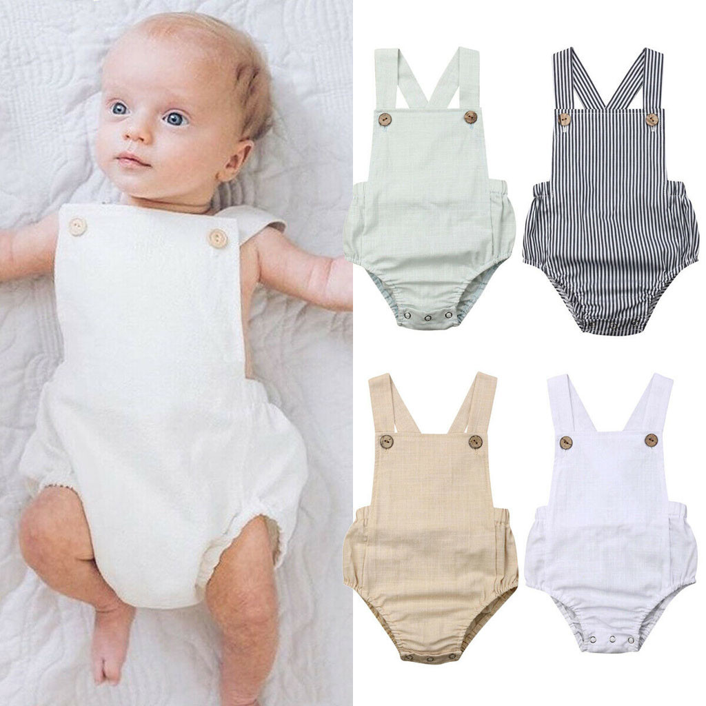 Toddler Baby Kids Girls Sleeveless Solid Stripe   Romper   Casual Outfits Summer Sunsuit Clothing Baby Girl   Romper   Baby   rompers   2019