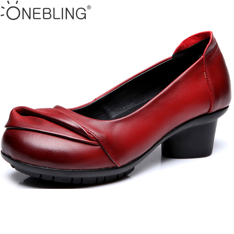 ONEBLING Genuine Leather Women Med Heel Shoes 2017 Spring Autumn Fashion Comfortable Thick Heel Shoes Shallow Soft Female Pumps
