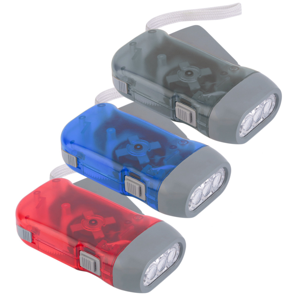 Plastic Torch Wind Up Hand Press Rechargeable Torch 3 LED Camp Flashlight Small