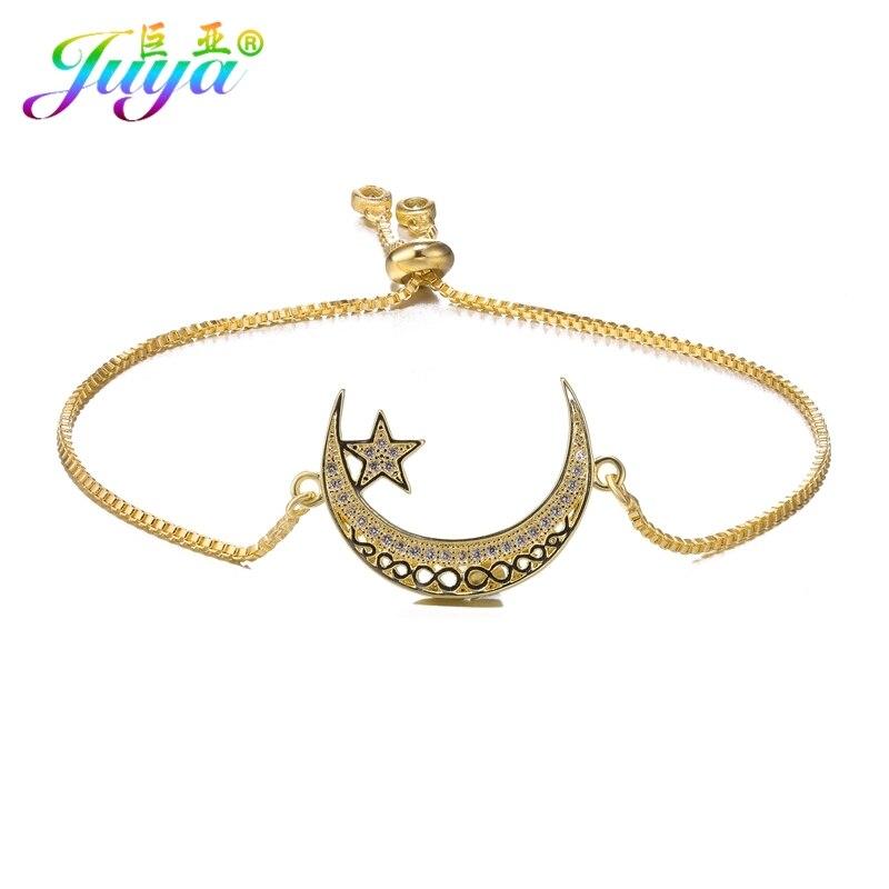 Juya Handmade Muslim Prayer Allah Bracelets For Women Men Handmade Religious Islamic Crescent Moon Star Charm Bracelets Supplies