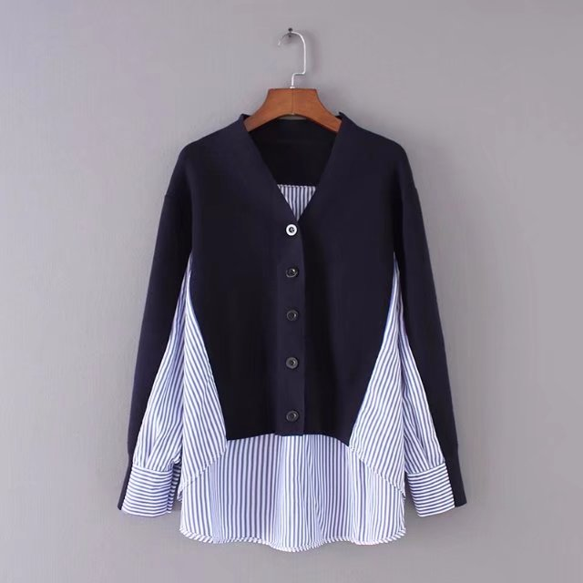 Sweater Cardigan Spring Top Women Knitted Autumn Casual Patchwork V-Neck Cotton Trending