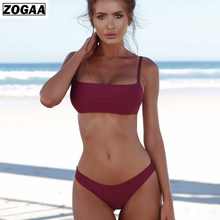 ZOGGA 2019 2 Piece Outfits for Women Low Waist High-quality Spandex/polyester Suit Set with Falsie/shoulder Girdle/no Wire