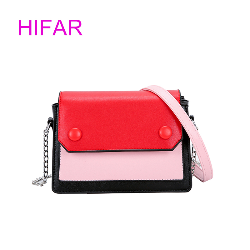 Fashion Women Bag Girls Leather Chain Handbag Crossbody Shoulder Bag Female Casual Hit Color Mini Small Messenger Phone Bag