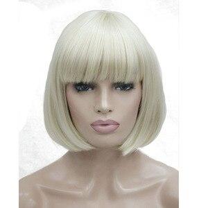 Image 3 - StrongBeauty kadın peruk Bob siyah saç kısa düz doğal sentetik kapaksız peruk renk seçenekleri