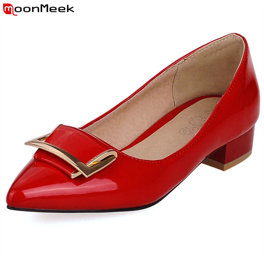 MoonMeek new fashion 2018 spring autumn pointed toe sexy ladies shoes high heels square heel simple prevail pumps women shoes fashion new spring summer med high heels good quality pointed toe women lady flock leather solid simple sexy casual pumps shoes