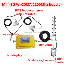 LCD display Mini WCDMA UMTS 3G 2100MHZ Cell Phone Mobile Signal Repeater , 3G Booster Amplifier + 2 indoor Antennas + Cable Kits