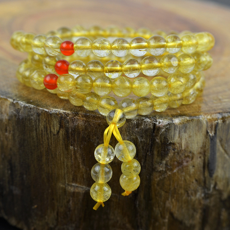 Natural Blonde Hair Crystal 108pcs beads Bracelet Fine Crystal Bracelets Jewelry For women Gift with certificate Drop ShippingNatural Blonde Hair Crystal 108pcs beads Bracelet Fine Crystal Bracelets Jewelry For women Gift with certificate Drop Shipping