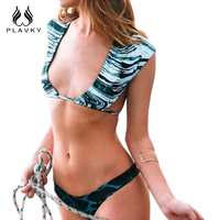 PLAVKY Sexy Sâu V Plunge Màu Xanh Sọc Đá Biquini Chuỗi Bandage Swim Tắm Suit Swimsuit Swimwear Phụ Nữ Mặc Bikini Brazil