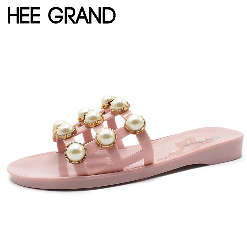 HEE GRAND Jelly Shoes 2018 Summer Sweet Slides Casual Beach Shoes Woman Outside Slippers Slip On Fashion shoe Size 36-41 XWZ4585
