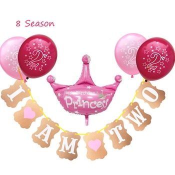 8 Temporada 2 globos de cumpleaños 2 años de edad Banner fiesta 2 ° número globo de aluminio niño niña bolas niños Favor Baby Shower Decoración