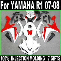 Motorcycle fairing kit for Yamaha injection molding YZF R1 07 08 white red fairings set YZFR1 2007 2008 BD32