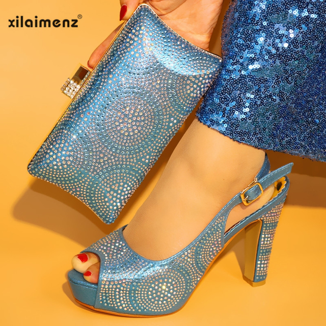 New Design Shoes and Bag Set Italian Sets Italian Shoes with Matching Bags Fashion Women Shoes and Handbag Wedding in Blue