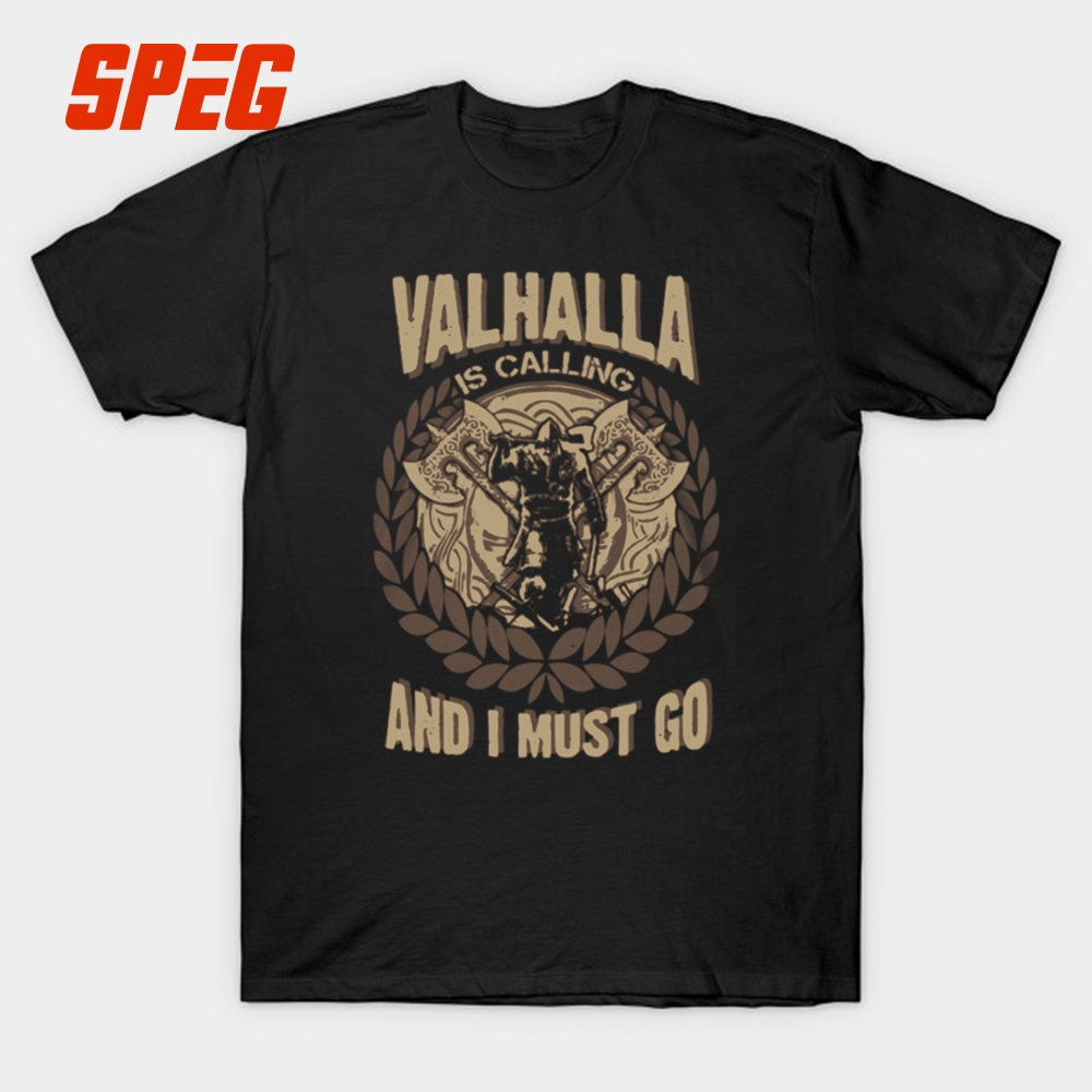 Viking T Shirt Valhalla Is Calling And I Must Go Men Summer Customised T-Shirts O Neck Clothes Cotton Short Sleeve Male Tee