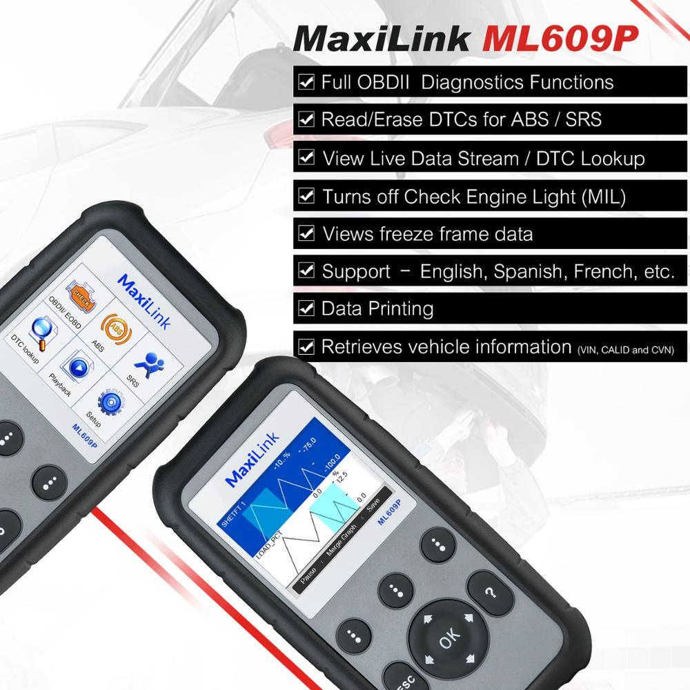 Image 2 - Autel MaxiLink ML609P Auto Car obd2 Scanner diagnostic tool Code Reader OBD2 connector stethoscope Scan Tool airbag simulator-in Engine Analyzer from Automobiles & Motorcycles