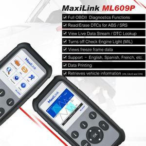 Image 2 - Autel MaxiLink ML609P Auto Car obd2 Scanner diagnostic tool Code Reader OBD2 connector stethoscope Scan Tool airbag simulator