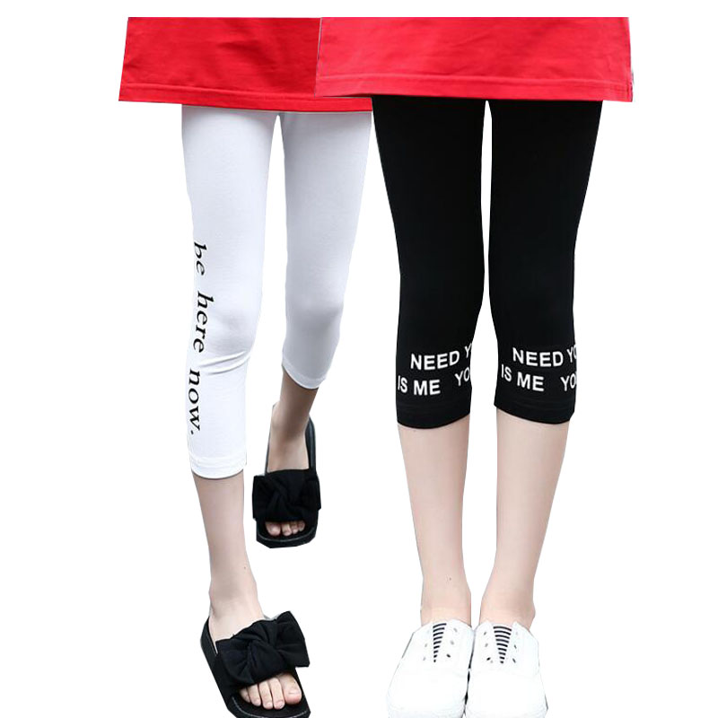 где купить Teenage Girls Leggings Cotton Children Pants 2018 New Summer Kids Leggings Skinny Girls Leggings 6 8 10 12 Year Kids Clothing дешево