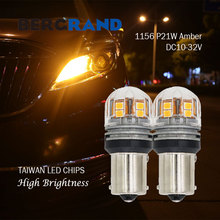 2PCS 1156 BA15s P21W LED Bulb R5W R10W DC12V/24V Amber 15SMD 2835 Taiwan Chip Car Turn Signal Side Lights Indicate Lamp Auto