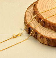 Hot sale Yellow gold Beads Necklace chain 2g Stamp AU750