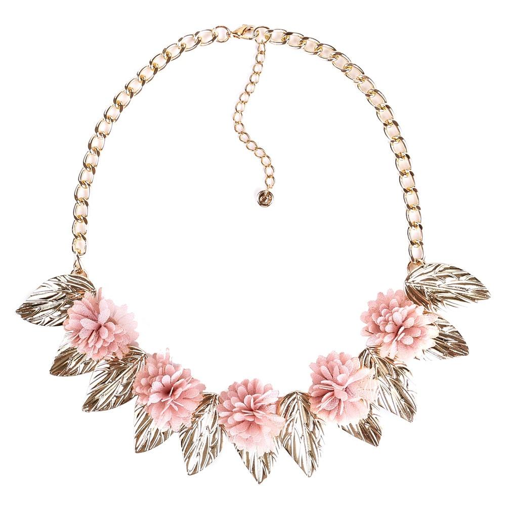 Pink flower necklace women flower statement necklace 2017 big pink flower necklace women flower statement necklace 2017 big fashion chokers necklace maxi jewellery in choker necklaces from jewelry accessories on mightylinksfo