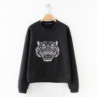Europe and America Style 2018 Autumn New Women Fashion Slim O neck Tiger Pattern Embroidered Sweatshirt D128