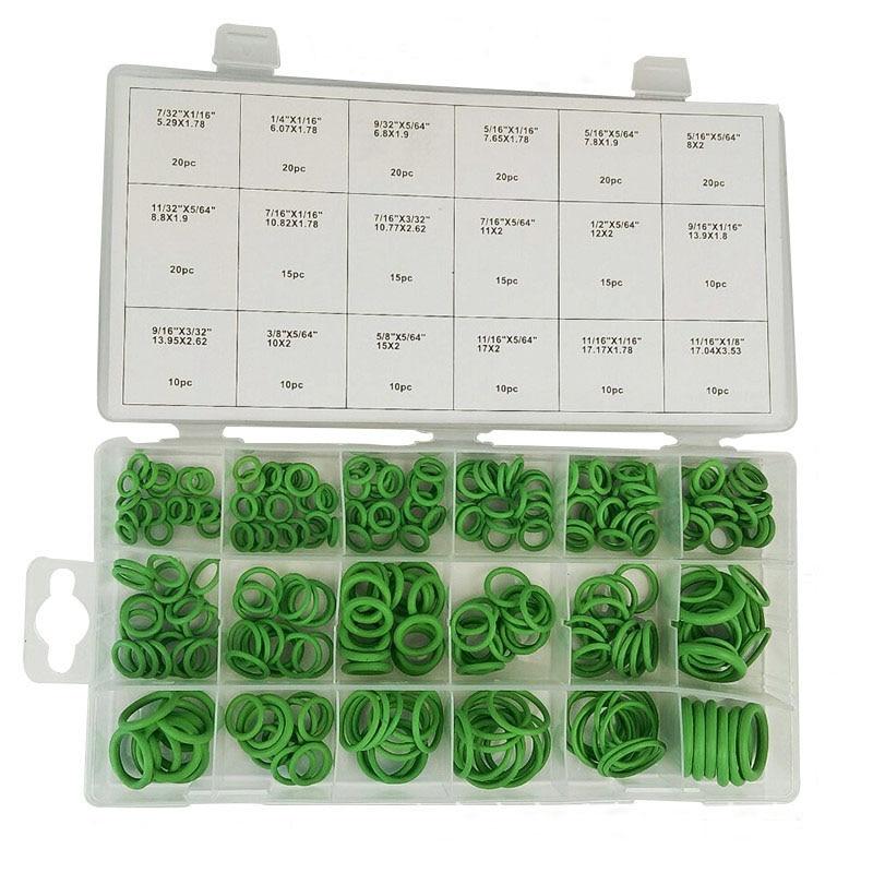 270Pcs Silicone Rubber 18 Sizes O-ring Kit Green Metric O ring Seals Nitrile цена