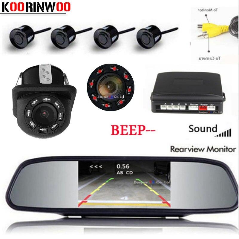 Koorinwoo Parktronic Car Screen Mirror Monitor Reversing Car Parking Sensor 4 Probe Alarm Backup Rear view