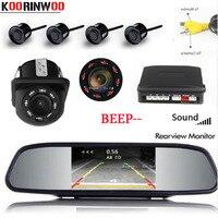 Koorinwoo Parktronic Car Screen Mirror Monitor Reversing Car Parking Sensor 4 Probe Alarm Backup Rear view camera Parking system