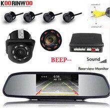 Koorinwoo Parktronic Dell'automobile Dello Schermo del Monitor Dello Specchio Retromarcia Sensore di Parcheggio 4 Sonda di Allarme di Backup macchina fotografica di retrovisione sistema di Parcheggio