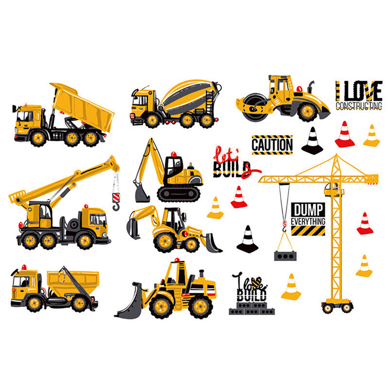 Mayitr Cartoon Excavator Construction Wall Stickers for Kids Rooms Nursery Room Trucks Tractor Decals Bedroom Decor