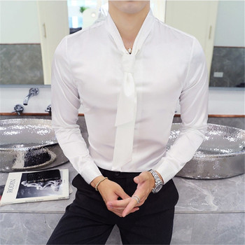 Male Chemise Homme Manche Longue Plus Size  3 Solid Tie Shirt Men Long Sleeve Slim Fit  Tuxedo Shirt  pink Wedding Groom Shirt