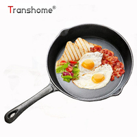 Transhome 20CM Cast Iron Kitchen Skillet Frying Pan Cookware Pot Egg Fried Gas Induction Stove Oven