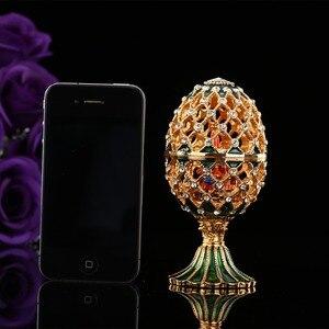 Image 5 - QIFU oeuf de Style russe de luxe, avec ornements artisanaux de petit château, décoration