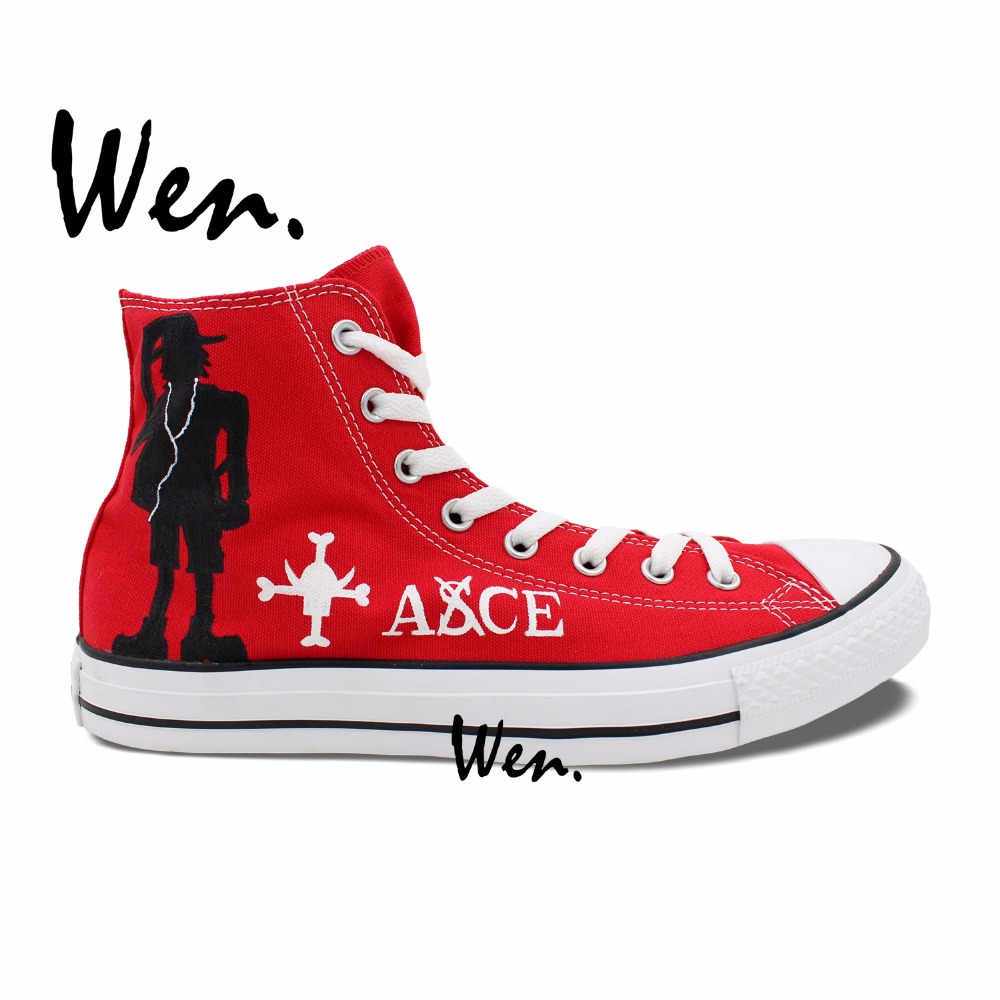 ФОТО Wen Hand Painted Shoes Design Custom One Piece Portgas D Ace Luffy's Hat Men Women's High Top Red Canvas Sneakers for Gifts