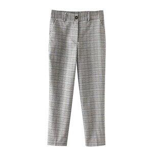 Image 5 - Bella Philosophy Spring Plaid Pants Women Casual High Waist Long Pants Female Zipper Office Lady check Pants Bottoms