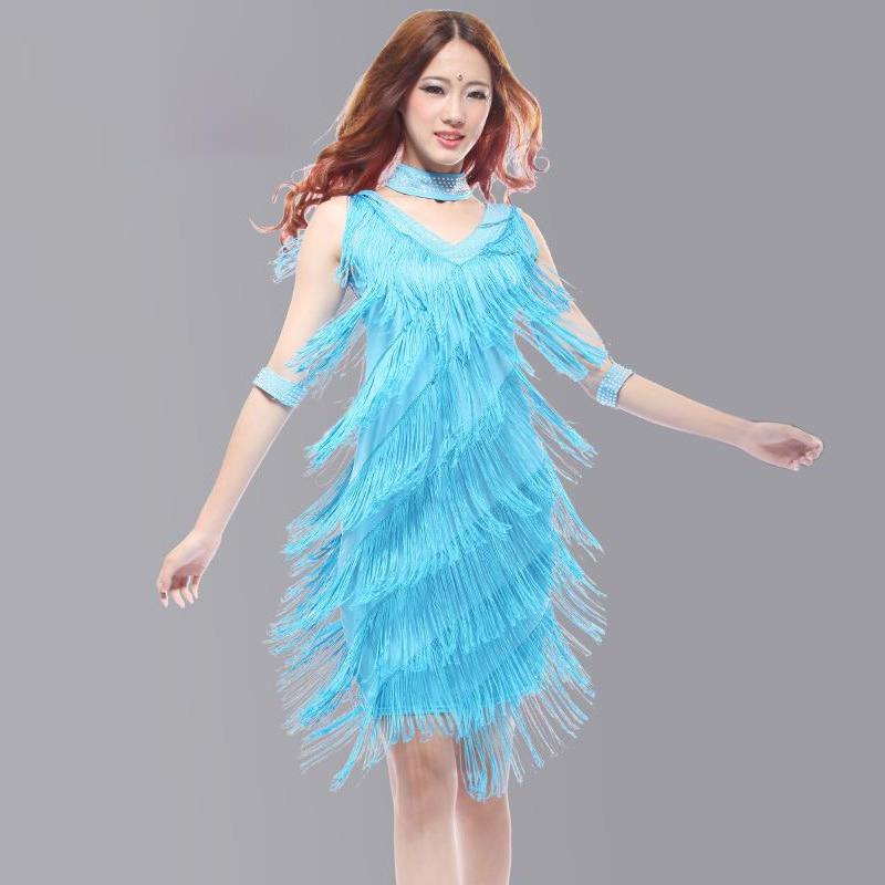 2019 Vintage Bling Fashion V Neck Sequin Fringe Charleston Flapper Stage Dance Clothing Dresses Wear Costumes