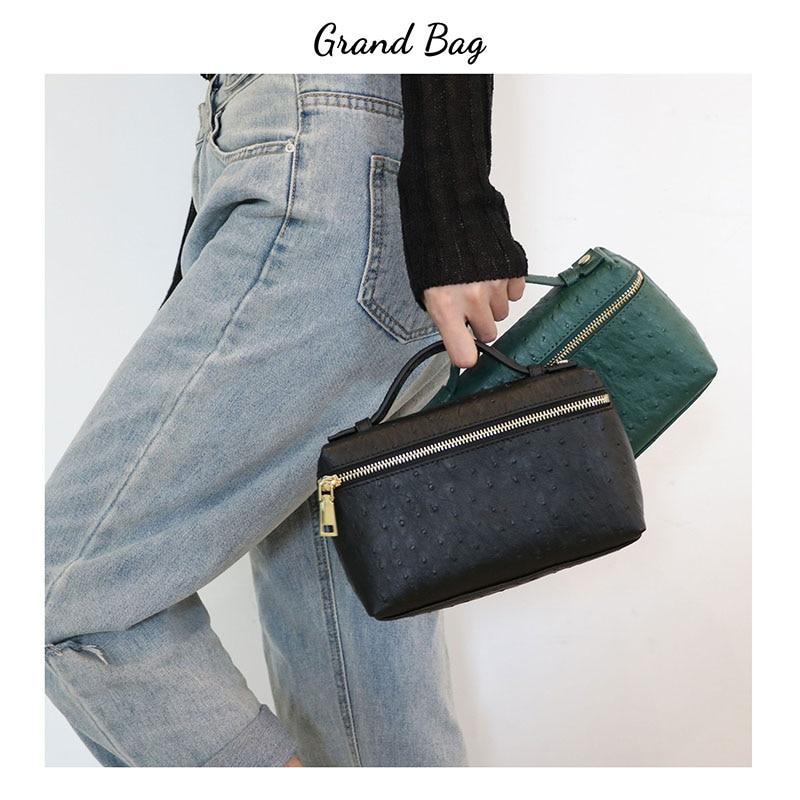 New Fashion designer handbag embossed ostrich leather portable bag small clutch bag lady hand bag purse