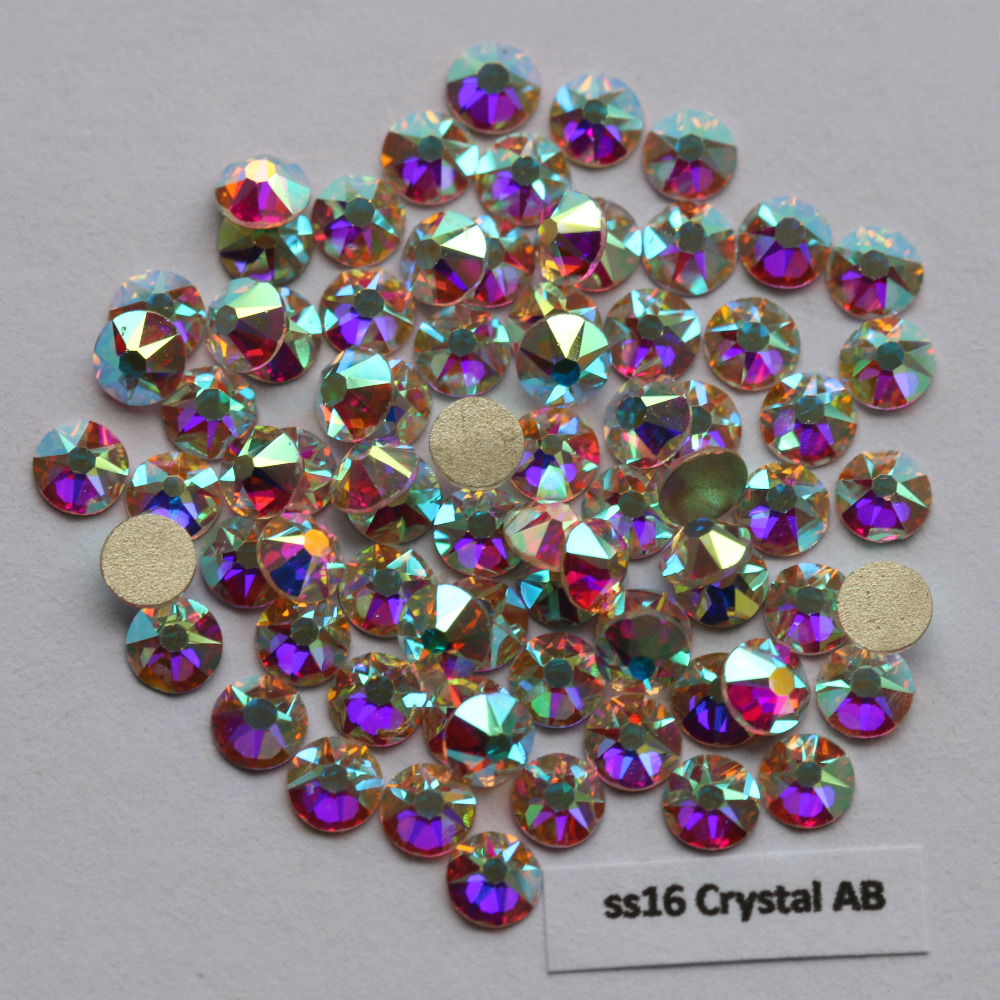 1440 pçs/lote, aaa qualidade nova facted (8 grande + 8 pequeno) ss16 (3.8-4.0mm) cristal ab unha arte cola em strass não hotfix