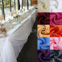 Free Shipping 10M X 1 4M Top Table Swags Sheer Organza Swag Fabric Wedding Party Bow