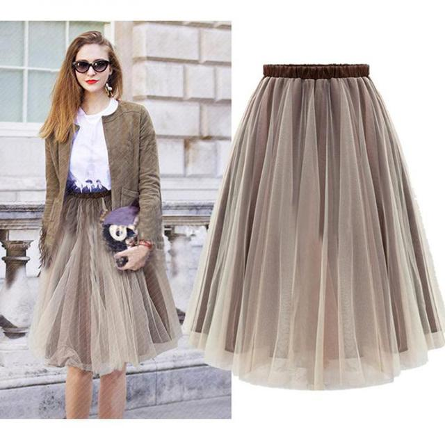 Tulle Tutu Skirt Women New Fashion Slim Knee Length Solid Elegant High Elastic Waist Brown