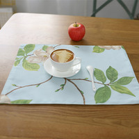 Japanese Zakka Style Placemats For Dinner Tables Cotton Plant Printed Napkin Washable Pads For Home Wedding