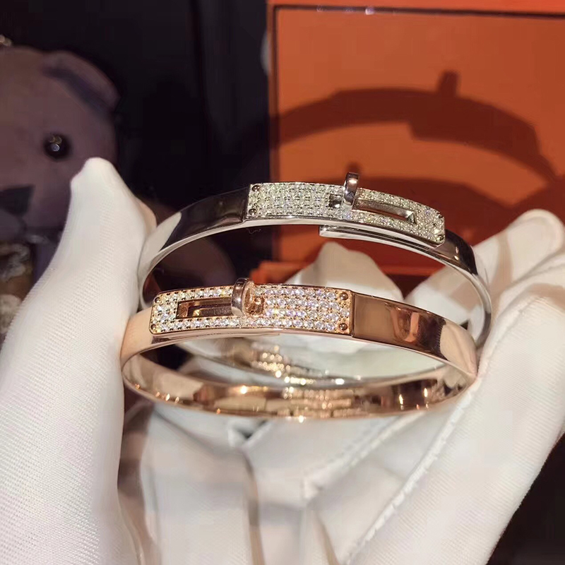 Brand Pure 925 Sterling Silver Jewelry For Women Twist Lock Silver Bangle Half Stone Rose Gold